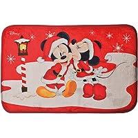 Tapete Natal Decorativo Antiderrapante Mickey e Minnie 40 x 60, DISNEY, Multicor