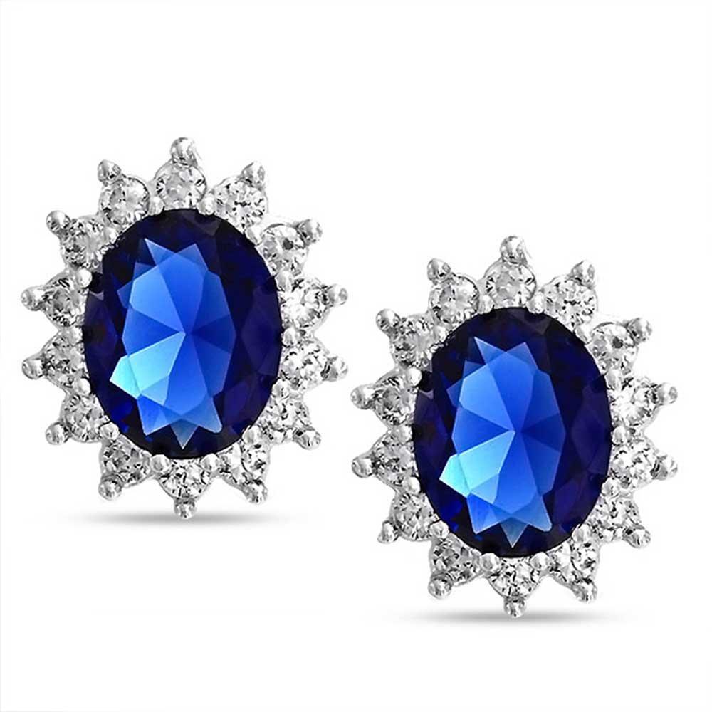 5CTW Boucles d'ovale bleu royal Saphir simulées CZ argent 925 Sterling Couronne Halo Bling Jewelry CL-D-3908