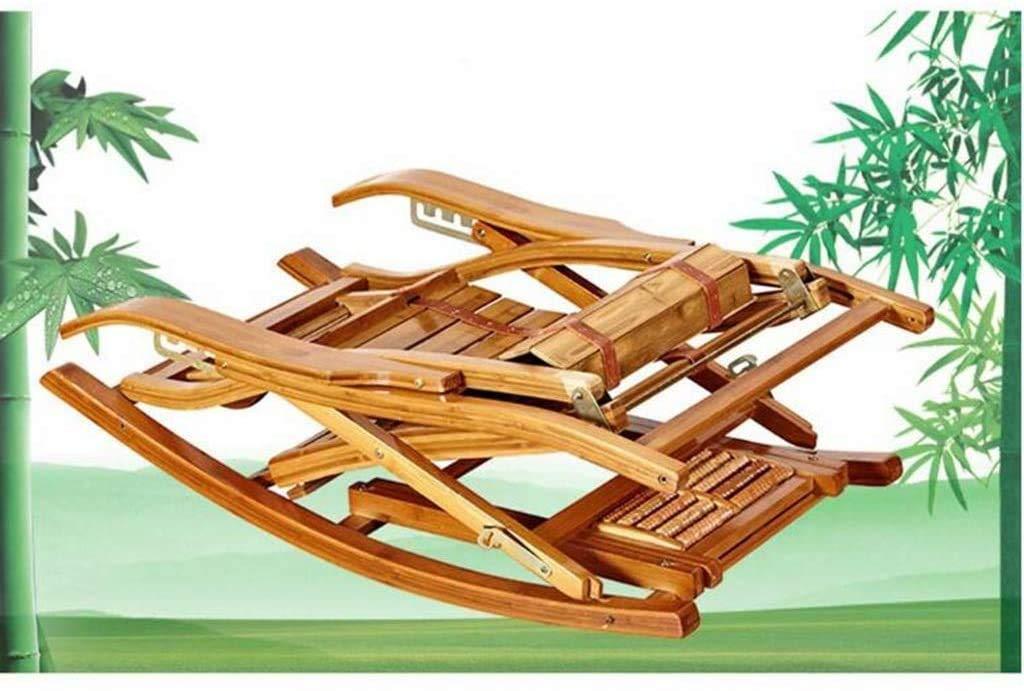 RECLINING SUN LOUNGER fällbar bambu gungstol, 5 hastigheter justerbar äldre stol, fotmassage, bärbar utomhus trädgård solstol (59 × 46 × 55 cm) xiuyun (färg: kaki färg) Brun