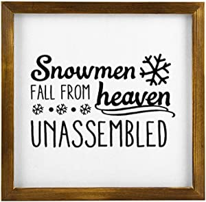 43LenaJon Snowmen Fall from Heaven Unassembled Rustic Wood Wall Sign,Hanging Wood Sign with Frame,Saying Words Sign Decor for Garden,Personalized Text Saying Wooden Farmhouse Quotes Label