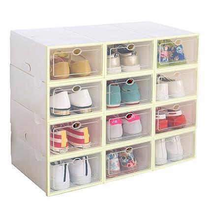 Ironland 12 Closet Storage Organizer Shoe Box Yellow