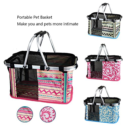 ZEALUX Portable Comfort 12 Inch and 17 Inch Soft Sided Pet Outdoor Travel Carrier Cat/Dog Small Animals Tote Basket (11.8