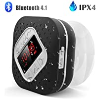 Waterproof Bluetooth Shower Radio Speaker with LED Screen, AGPTEK Hands-Free Portable Wireless Speaker with Suction Cup, Built-in Microphone FM Radio for Bathroom, Pool, Car, Beach, Kitchen, Black