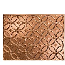 """Fasade Easy Installation Rings Polished Copper Backsplash Panel for Kitchen and Bathrooms (18"""" x 24"""" Panel)"""