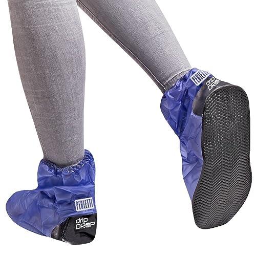 Cubrecalzado Impermeable de PVC - Resistente y Reutilizable - con Suela Antideslizante - galochas para Lluvia, Nieve y Fango - Modelo Alto - Azul (M (40-42), Azul)