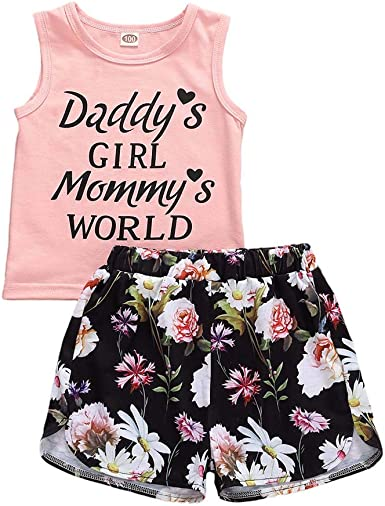 2Pcs Summer Baby Girl Clothes Outfits Set Sleeveless T-Shirt Tops Flowers Pants