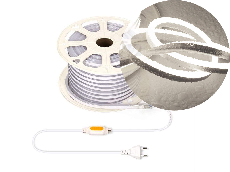 Neutralwei/ß, 6m Ogeled 1-50m Neon LED Strip Warmwei/ß Neutralwei/ß Kaltwei/ß ohne Lichtpunkte Wasserfest Innen//Au/ßen 230V Dimmbar