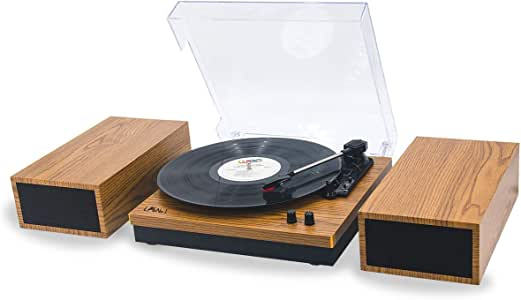 LP&No.1 Retro Belt-Drive Bluetooth Turntable with Separable Stereo Speakers,3 Speed Vinyl Record Player
