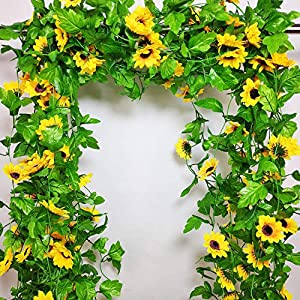 8 Pcs 8.5 Feet/piece Artificial Sunflower Hanging Vines Fake Flower Greenery Garland Silk Plant Leaves String Green Leaves Vines for Home Hotel Office Garden Wedding Party Outside Decoration 1