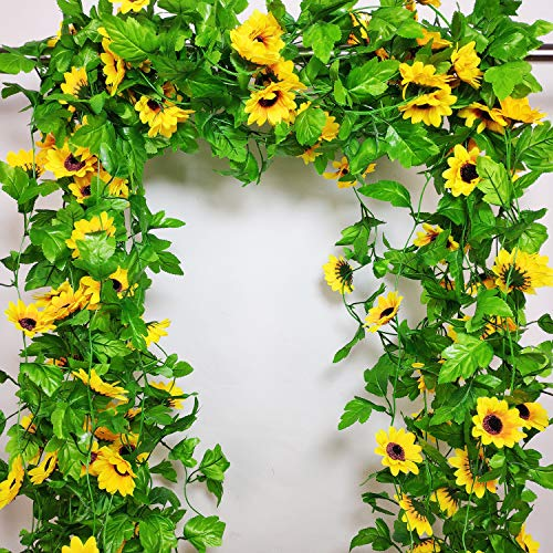 8 Pcs 8.5 Feet/piece Artificial Sunflower Hanging Vines Fake Flower Greenery Garland Silk Plant Leaves String Green Leaves Vines for Home Hotel Office Garden Wedding Party Outside Decoration
