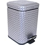 Gedy Marrakech Square Faux Leather Waste Bin With Pedal, Old Silver