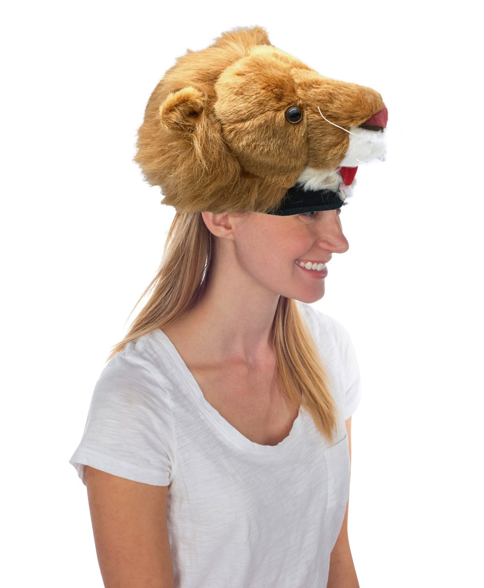Furry Lion Animal Hat, Realistic Plush Costume Headwear, 1 Size