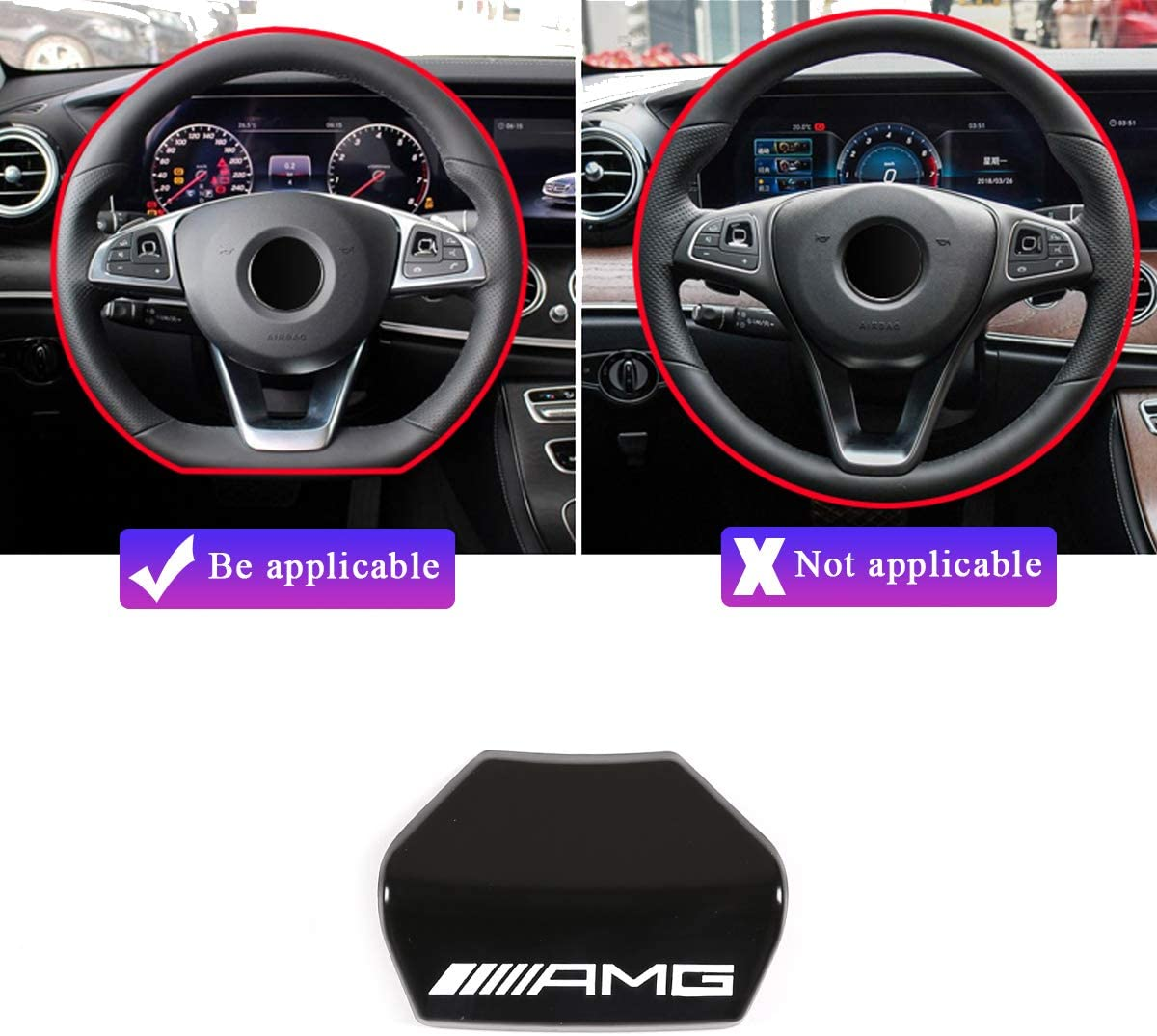 volante sportivo quadrato Adesivo per volante in lega di zinco AMG con logo AMG per Classe A B C E GLA CLA GLC GLE GLS W213 W205 x253 LLKUANG