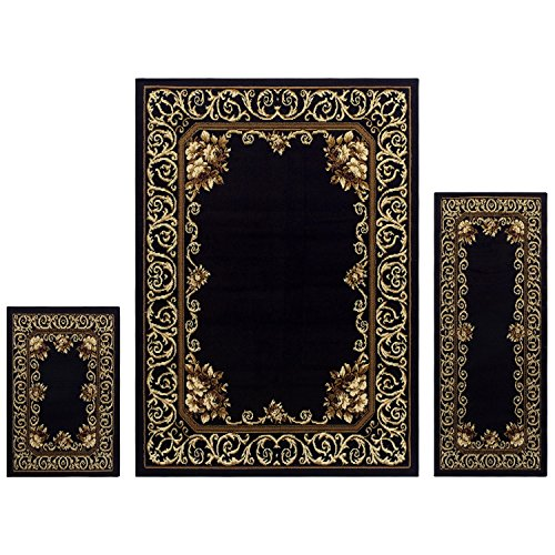 Superior Freyberg Collection 3-Piece Rug Set, Attractive Rugs with Jute Backing, Durable and Beautiful Woven Structure, Elegant Bordered Floral Area Rug Set - 2' x 3', 2' x 5', and 5' x 7' (Victorian Living Room Set)