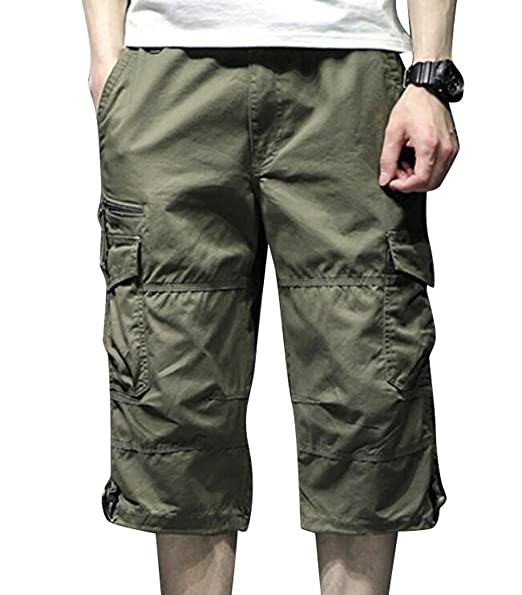 Amazon.com: jyzj-men cintura elástica Multi bolsillos Loose ...
