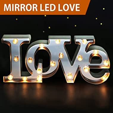 Bright Zeal 7  Tall Large LED LOVE Marquee Sign Letters (MIRROR IMBEDDED, 6hr Timer) -Marquee Letters Lights Wedding Decorations -Decorative Signs Home LOVE Decor Signs Wedding Decor Lights