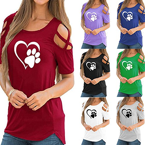 Poccio Cute Short Sleeve T Shirt,Women Summer Paw Printed Strappy Tee Shirt Casual Cold Shoulder Tops Blouses by Pocciol_Womens Blouse (Image #5)