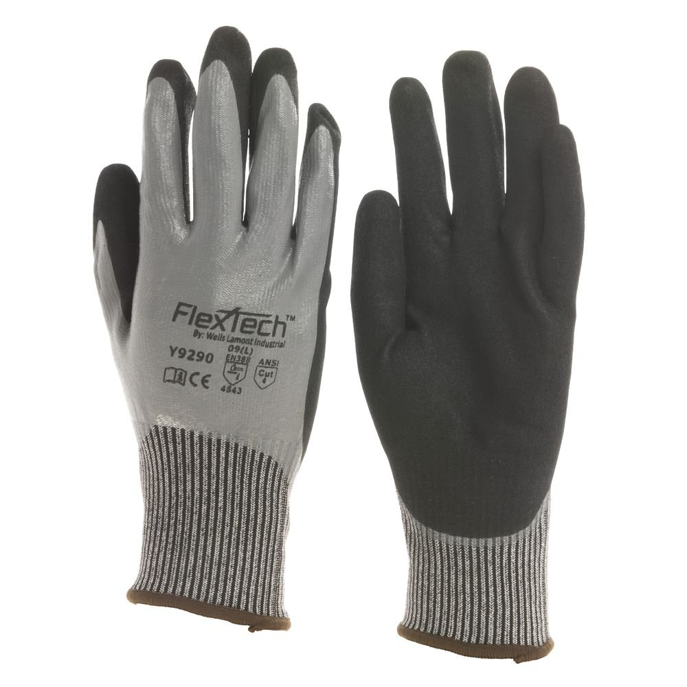 Flextech Grey Knit Cut Resistant Glove with Nitrile Coating - Large