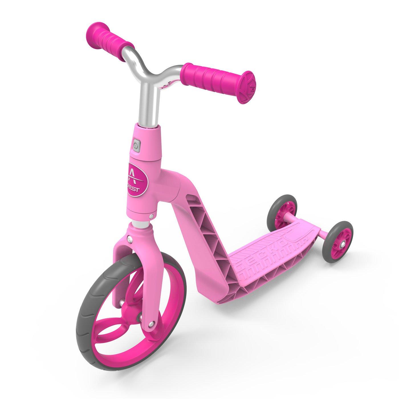 AEST Correpasillos Y Patinete 2 En 1 Bicicleta Sin Pedales Reversible Scooter 3 Ruedas Niño Niña 2-4 Años - Color Rosa: Amazon.es: Juguetes y juegos