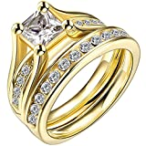 yellow engagement rings - LWLH Jewelry Womens 18K Yellow Gold Plated Cubic Zirconia CZ Promise Engagement Wedding Band Rings Set Szie 9