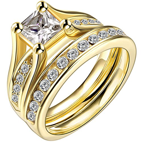 Yellow Gold Wedding Set (LWLH Jewelry Womens 18K Yellow Gold Plated Cubic Zirconia CZ Promise Engagement Wedding Band Rings Set Szie 7)