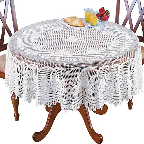 "Crochet Lace Floral Tablecloth, White, 70"" Round"