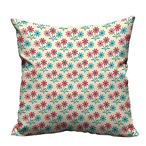 (fengruihome Super Soft Short Plush Pillow Cover in Full Blossom Vivacious Compositi Plants Cottage Multicolor Easy to Wash 31.5x31.5 inch(Double-Sided Printing))