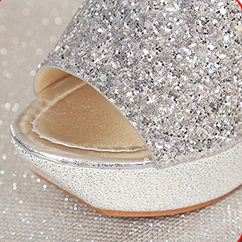 Silvery on Walking Sandals Comfy Heels Slippers Sequins High Women Slip Glitter T Platform Wedge JULY Sparkle aqF7Z