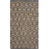 Safavieh Cape Cod Collection CAP822A Hand Woven Geometric Black and Natural Jute and Cotton Runner (23 x 8)