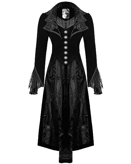 eeed74494c9a14 Punk Rave Jacket Frock Coat Black Velvet Gothic Steampunk VTG Victorian  Regency: Amazon.co.uk: Clothing