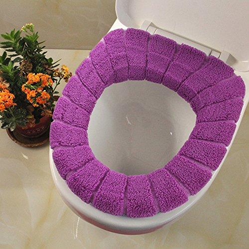 Funda de tela de asiento de inodoro, cubierta para tapa de inodoro redonda, almohadilla de repuesto para asiento de inodoro, suave, lavable, azul, ...