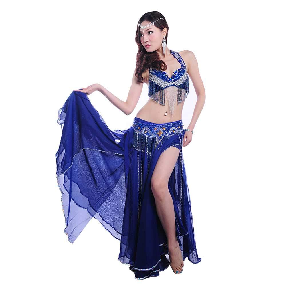 成人女性のベリーダンスの衣装、ビーズのブラのドレス B07J46XW8Y  Royal blue M