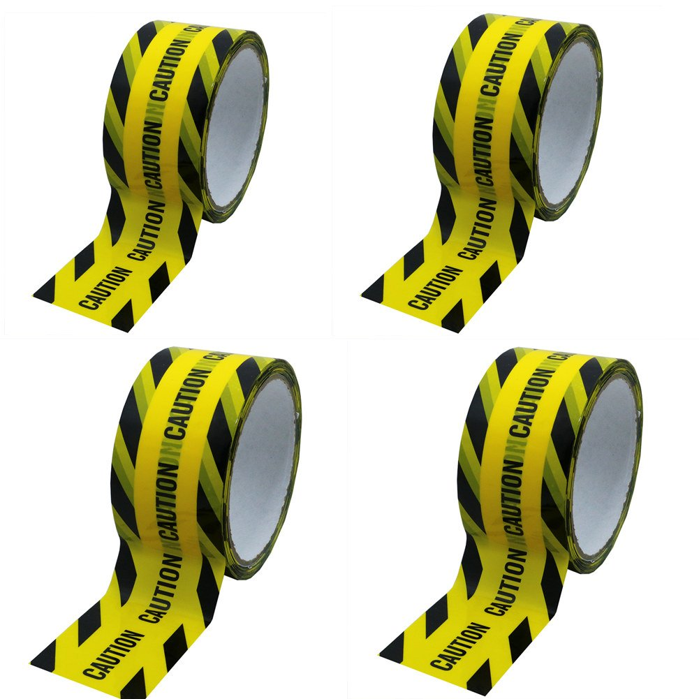 Hybsk 50MM(width) x 25M(length) Caution Warning Tape Yellow With Black Ink (4 Rolls)