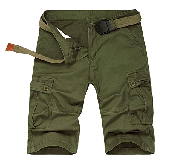 f230f5ddb47 Plaid&Plain Men's Cargo Shorts Loose Fit Twill Cargo Shorts Mens ...