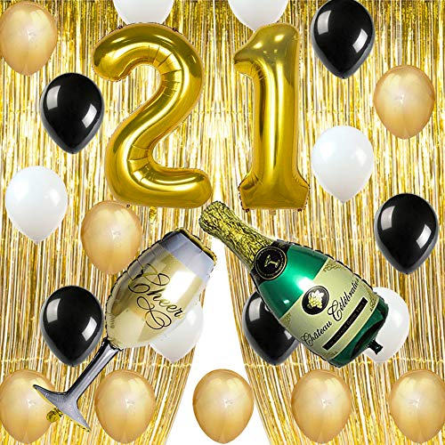 (Gold 21st Birthday Party Decorations Supplies, Number 2 and 1 Balloons Gold Foil Fringe Curtains Backdrop Props Champagne Bottle Wine Glass Balloons Decoration for Bachelorette Celebration)