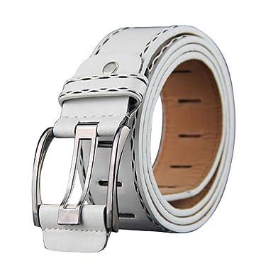 White, One Size Sunyastor Mens Leather Belt Reversible Waist Strap Fashion Dress Buckle with Anti-Scratch Belt Automatic Sliding Buckle