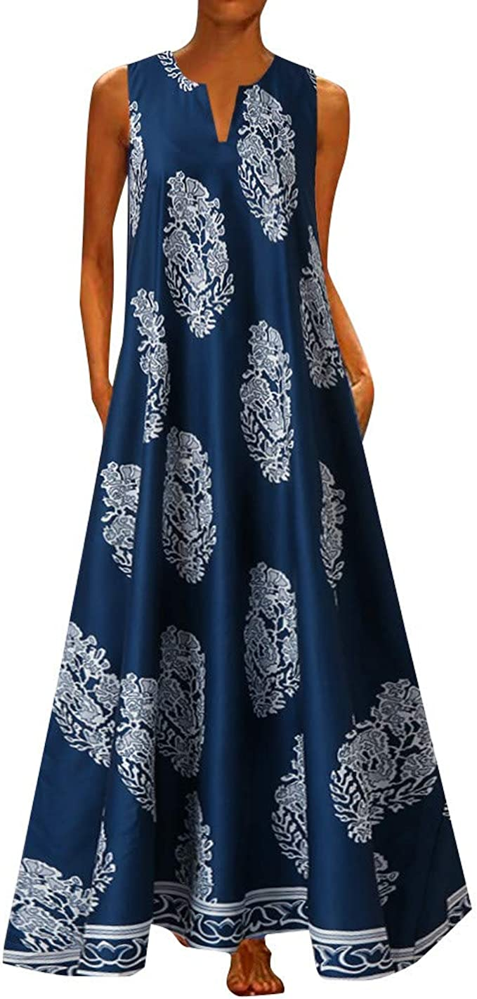 XL, Blue Womens Printed Summer Loose Sleeveless Tank Maxi Dress with Pocket,Plus Size S-5XL