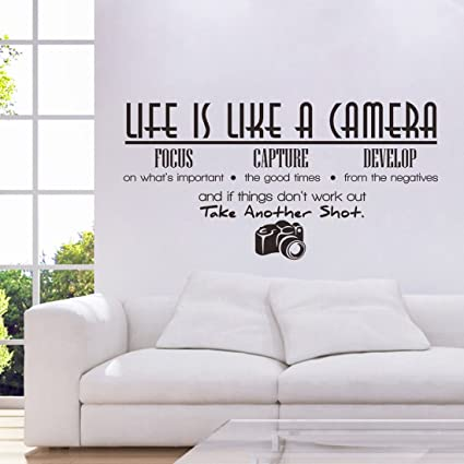 34c939fc72a3 Image Unavailable. Image not available for. Color  Voberry quot Life Is Like  A Camera quot  Wall Sticker Quote ...