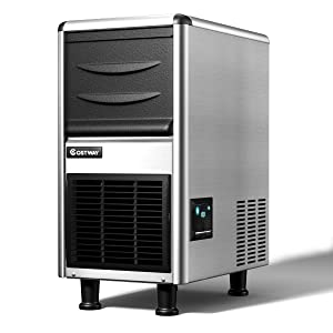 Costway Commercial Ice Maker 110LB/24h Freestanding Portable Stainless Steel Ice maker machine Undercounter Ice Machine w/LED Display