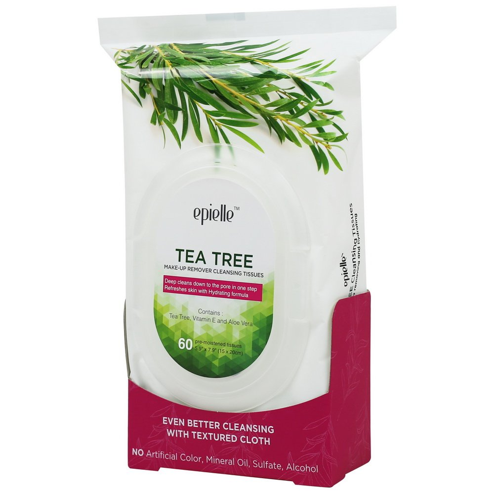 Epielle Tea Tree Make-Up Remover Cleansing Tissues, 60ct (4 pack) Eminence Strawberry Rhubarb Masque (2 oz)