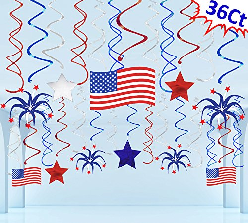 Festive Decorations - Moon Boat 36 Ct Fourth of July Patriotic Decorations Hanging Swirl - 4th of July American Flag/Stars Red White Blue Party Supplies