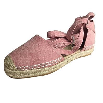 Sandalen Damen Flache Spitze up Espadrilles Sommer Chunky Urlaub Sandalen Schuhe Riemen Schuhe