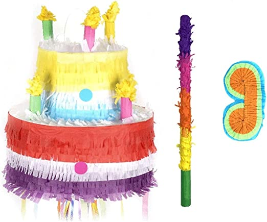 Amazing Amazon Com Pinata Big Size Pinatas Pull Pinata Birthday Cake Funny Birthday Cards Online Elaedamsfinfo