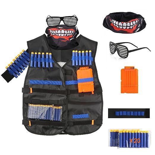 Kids Tactical Vest Jacket Kit for Nerf Guns N-Strike Elite Series (Black)