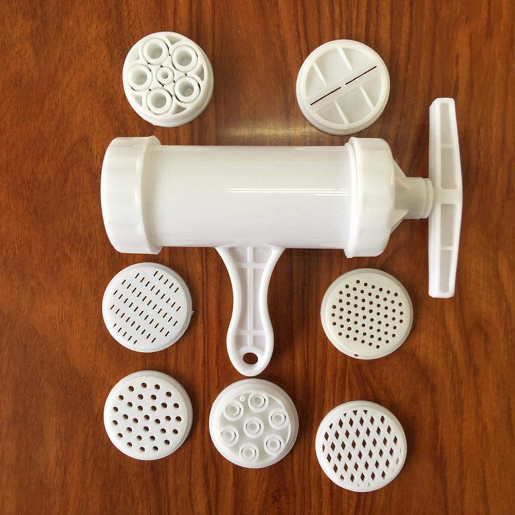 rcraftn Hand-Operated Pasta Household E-Shaped Plastic Maker Machine Kitchen Tool Noodle Maker with 7 Pressing Moulds