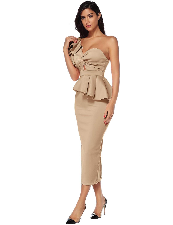 0ba5c920c4f Meilun Women Celebrity Evening Party Dress Bodycon Sets One Shoulder  Ruffles Club Dress at Amazon Women's Clothing store: