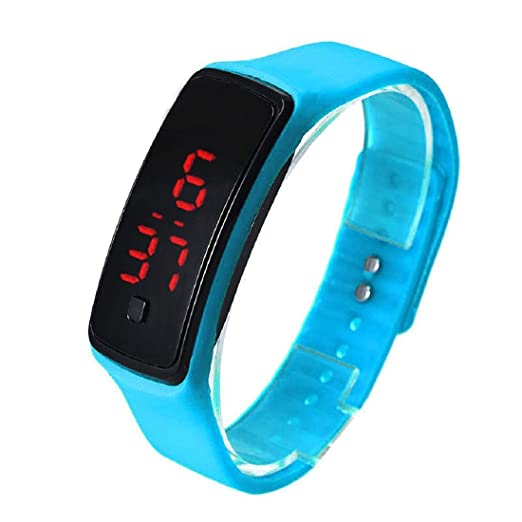 TOOGOO Fashion Ultra-Slim Men Silicone Digital LED Sports Wrist Watch (Blue)