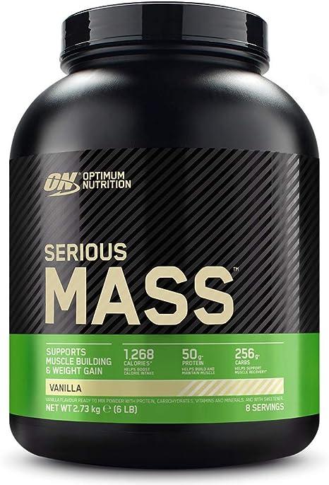 Optimum Nutrition Serious Mass Proteina en Polvo, Mass Gainer Alto en Proteína, con Vitaminas, Creatina y Glutamina, Vainilla, 8 Porciones, 2,73kg, ...