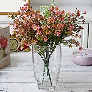 NOMSOCR Artificial Flowers, Fake Flowers Silk Plastic 7 Heads Bridal Wedding Bouquet for Home Garden Party Wedding Decoration 95