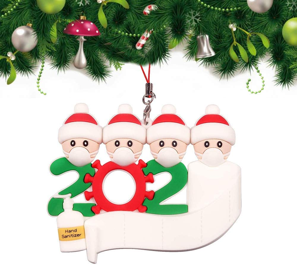 Personalized Name 2020 Christmas Ornament Xmas Tree Hanging Ornaments Present Personalized 2020 Survivor Family (Family of 4)